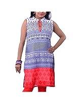 Riiti Designs Multi-Coloured Georgette Banded Collar Kurti for Women