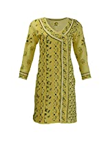 Lucknow Chikan Industry Women's Cotton Straight Kurti (Yellow , 38 Inches)