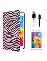 VG Zebra Print Mary Portfolio Multi Purpose Book Style Slim Flip Cover Case for Samsung Galaxy Tab4 T330/T331 8.0 (Pink) + Data Cable + Matte Screen