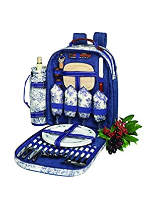 Picnic at Ascot Toile Backpack For 4, Cream/Blue