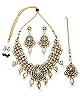 Diva Kundan White Indian Bollywood Necklace Earrings Tika Set For Women