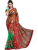 Chandra Silk Mills Brown floral Print Daily Wear Saree
