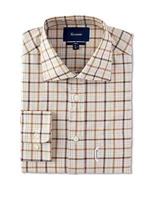 Façonnable Men's Plaid Club Spread Collar Dress Shirt (Beige)