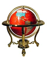 Unique Art 10-Inch Tall Table Top Red Crystallite Gemstone World Globe with Gold Tripod Stand