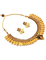 Megh Craft Women peacock one gram gold plated Lakshmi coin temple jewellery - ginni necklace set