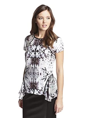 San & Soni Women's Ives Impression Print Peplum Top (Multi)