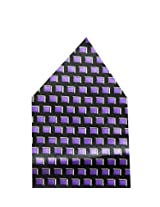 Navaksha Black and Purple Geometrical Pocket Square