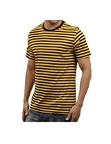 Funktees Men's Round Neck Cotton T-Shirt Yellow Strip Extra Large