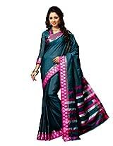 Paaneri Moss Green Colour Plain Pink Blended Cotton Saree_15111108902