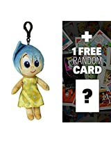 "Joy: ~8"" Disney Pixar Inside Out Zippered Clip Plush Doll + 1 Free Classic Disney Trading Card Bundle"