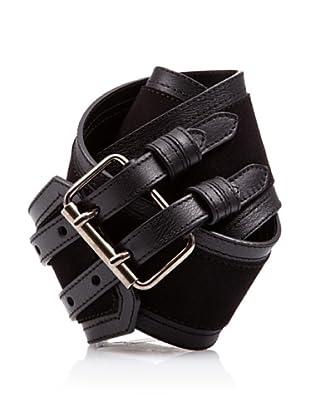 Caramelo Cinturón Doble Hebilla (Negro)