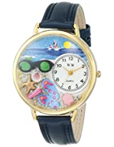 Whimsical Watches Women's G-1210015 Flip-flops Dark Blue Leather Watch