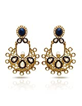 Donna Traditional Ethnic Gold Plated Black Floral Dangler Earrings with Crystal & Pearl For Women ER30035GBlu