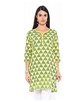 Jaipur Kurti Womens Cotton Yellow Small Kurta