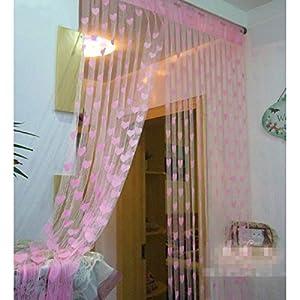 Mebelkart Dhamaka Set Of 2 Summer Heart Curtains - Light Pink