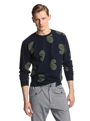Burkman Bros Men's Raglan Printed Crew Neck Sweatshirt (Navy/Paisley)
