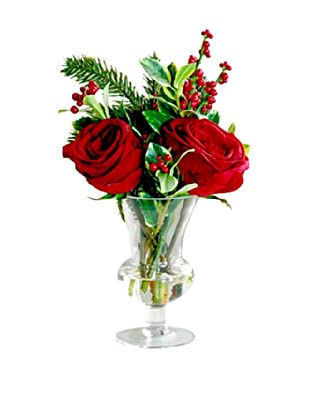 Winward Rose Mix in 15'' Vase (Red/Green)