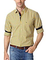 Peter England Yellow Checkered Shirt