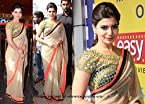 Indian Ethnic Designer Bollywood Party Wear Sarees Sari Traditional Women Wedding samantha beige saree