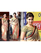 Samantha style inspired beige color saree with black, orange and golden dupian border. plain work saree is matched with dupian fabric blouse which is worked with zari, lace and thread