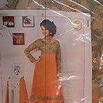 Orange Georgette Dress Material With Dupatta
