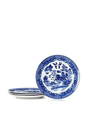 Set of 4 Blue Willow Dinner Plates
