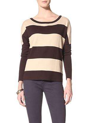 Suss Knitwear Women's Susie Wide Striped Pullover (Dark Chocolate/Sand)