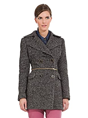 Cortefiel Abrigo Desmontable Tweed (Negro)