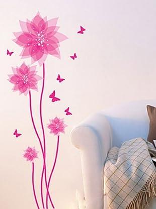 Ambience Live Vinilo Adhesivo Flores Y Mariposas De Color Rosa Multicolor