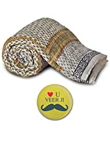 Little India Jaipuri Hand Block Print Cotton Single Bed Quilt - White  (DLI3SRZ319)
