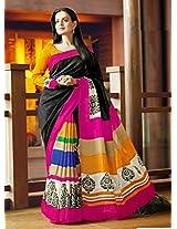 Ameesha Patel Bhagalpuri Silk Floral Print Black Bollywood Style Saree - VMS80068