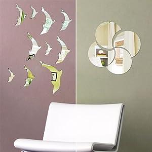 FabFurnish Reflections Decorative Mirror Sticker Set of Two Mirror