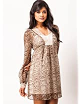 KOOVS O-054 Lace Dress - Brown