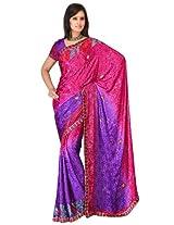 Sehgall Sarees Indian Professional Ethnic Poly Silk Crape colour rani