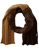 Muk Luks Men's Color Block Cable Basic Scarf, Brown/Tan, One Size