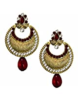 Beingwomen Round Shape Stone Studded Alloy Chandbali Earring