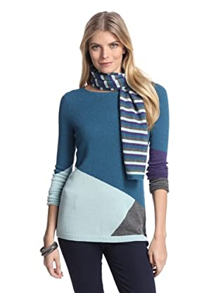 Cullen Women's Colorblock Cashmere Sweater with Scarf (Bayou Combo)