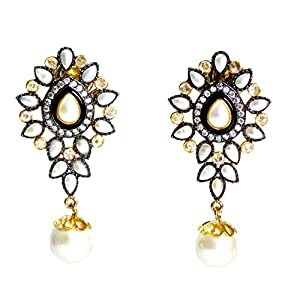 Daamak Jewellery Leaf Pearls Earring