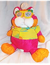 """1987 Fisher Price Wild Puffalumps 16"""" Pink And Orange Tiger Puffalump With Sunglasses And Flowered Shirt"""