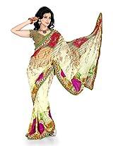 Shree Sanskruti Georgette Printed Sari with lace border