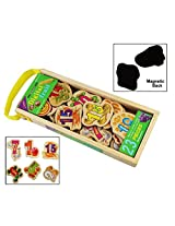 23 Piece Wooden Magnetic Cutout Stickers in Wooden Carry Case for Kids Ages 3+ Years (Digital Fruit)