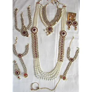 Maroon, White & Gold 9 pcs full kundan stone and pearls bridal jewelry set