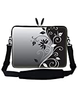 "Meffort Inc 15 15.6 Inch Gray Black Swirl Design Laptop Sleeve Bag Carrying Case With Hidden Handle & Adjustable Shoulder Strap For 14"" 15"" 15.6"" Apple Macbook, Acer, Asus, Dell, Hp, Sony, Toshiba, And More"