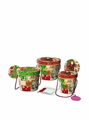 Punch Studio Set of 3 Nesting Treat Boxes (Christmas Victoriana)