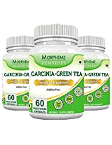 Morpheme Garcinia Green Tea 500mg Extract 60 Veg Capsules - 3 Combo Pack