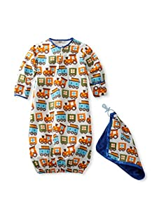 My Blankee Baby Woven Sleeper and Blankie Set (White Trains)