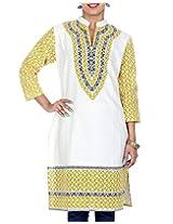 Rajrang Women's Printed Long Kurti (TOP05017_Off-White_X-Large)