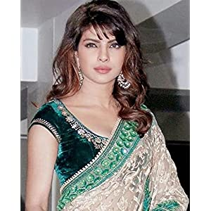 Bollywood Replica Priyanka Chopra Net Saree In Green and Beige Colour 248