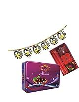 Skylofts 175gms Luscious Chocolate coated Almonds Tin pack with a beautiful candle diya set & bandanwaar Diwali combo
