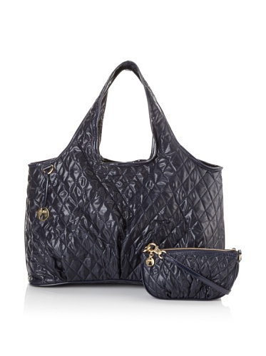 Three by Clava Women's Quilted Tote (Navy)